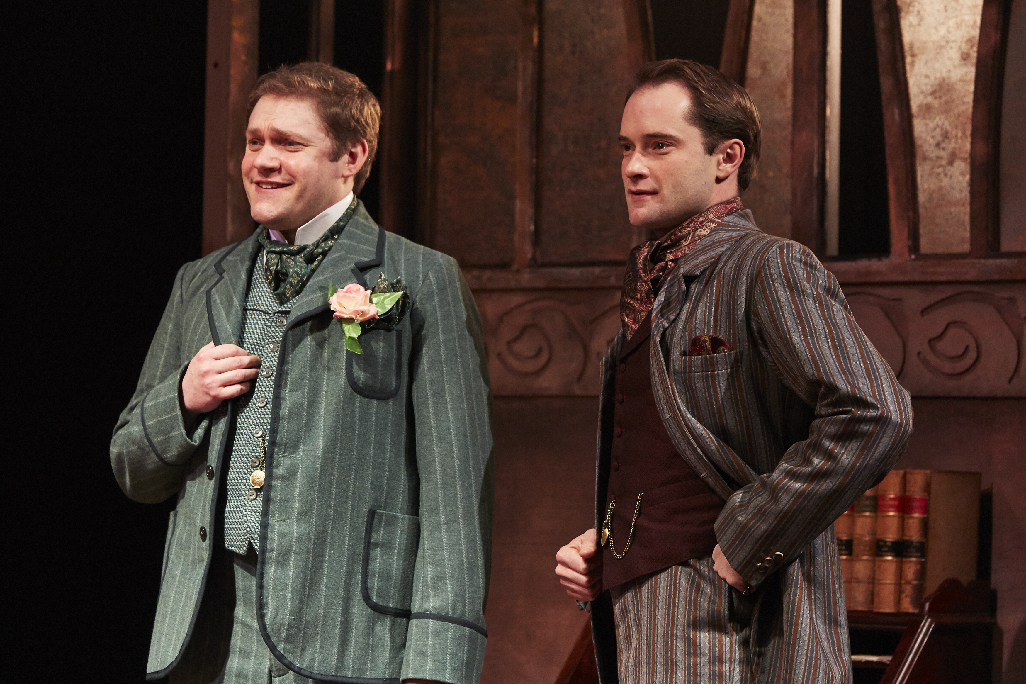 LtoR Thomas Howes as Algernon & Peter Sandys-Clarke as Jack in THE IMPORTANCE OF BEING EARNEST, credit The Other Richard