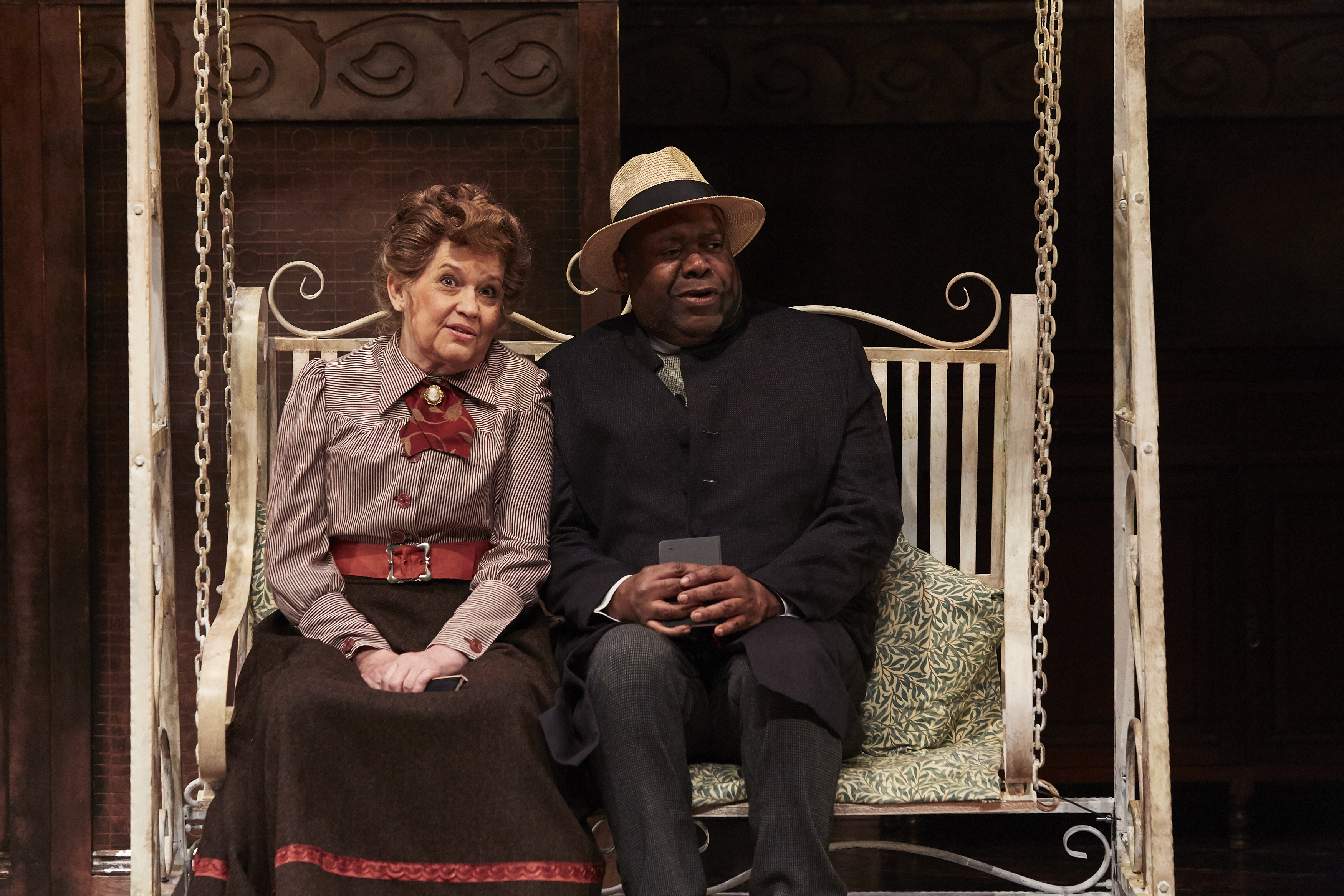 Susan Penhaligon as Miss Prism & Geoff Aymer as Chasuble in THE IMPORTANCE OF BEING EARNEST, credit The Other Richard